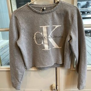 Calvin Klein cropped grey sweater size xs